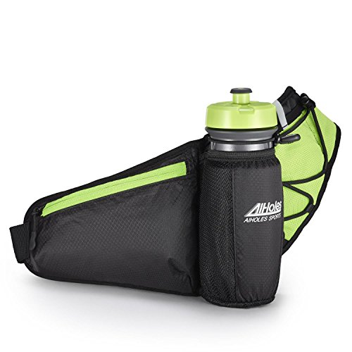 Fanny Pack AIHOLES Waist Pack with Water Bottle Holder Waterproof Running Belt Fits iPhone 7/6S Plus Galaxy S6 S7 Note 6/7 Reflective Water Bottle Pack for Running Hiking Travel Activities-Green - Pack Water Bottle Holder