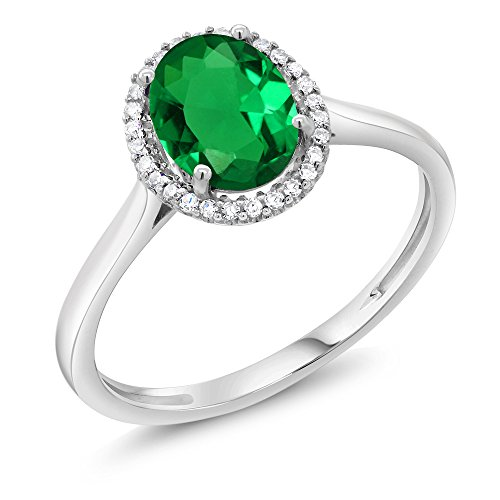 (10K White Gold Diamond Halo Engagement Ring set with 1.00 Ct Oval Green Simulated Emerald (Size)