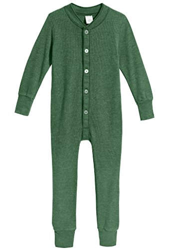 Toddler Waffle - City Threads Little Boys and Girls' Union Suit Thermal Underwear Set Long John Onesie Footie Perfect for Sensitive Skin and Sensory Friendly SPD, Forest Green, 2T