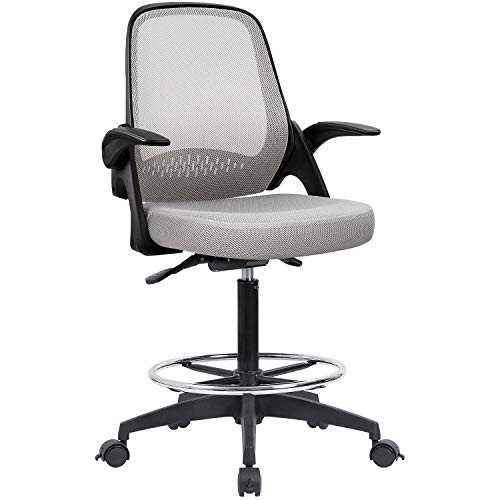Devoko Drafting Chair with Flip-up Armrests Tall Office Chair Executive Computer Standing Desk Chair...