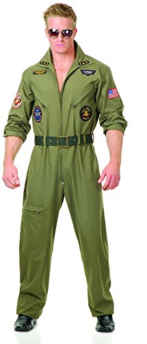 Flight Suit Costumes Men (Charades Men's Wingman Flight Jumpsuit And Belt, Olive Green, Medium)