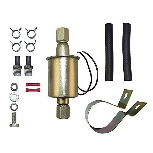 Universal 12 Volt Electric Fuel Pump w/Installation Kit Inline Type 5-9 PSI 3/8 Inlet & Outlet for Universal Carbureted Models E8090 ()