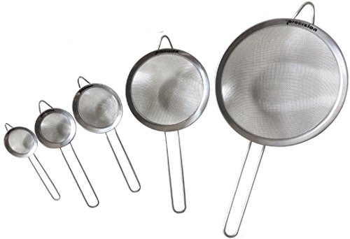 Stainless Steel Fine Mesh Micro-Perforated Strainers Set of 5 All Purpose Wire Colander Sieve for Superior Baking and Cooking Preparation (5 Pack)