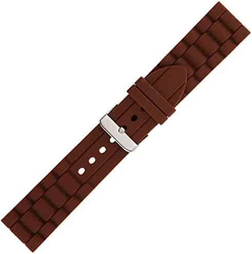 Kiiso Boy's, Girl, Men's & Women's White, Black, Brown, Red, Navy, Grey & Orange Textured Sport Silicone Watch Bands in 14mm, 16mm, 18mm, 20mm, 22mm & 24mm (Brown)