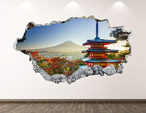 "West Mountain Old Japanese Castle Wall Decal Art Decor 3D Smashed Fortresses Sticker Poster Kids Room Mural Custom Gift BL135 (50"" W x 30"" H)"