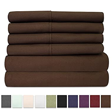 6 Piece 1500 Thread Count Egyptian Quality Deep Pocket Bed Sheet Set - 2 EXTRA PILLOW CASES, GREAT VALUE - Queen, Brown