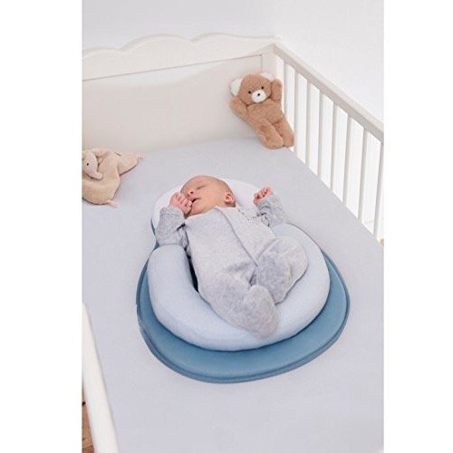Portable U Shape Anti Rollover Baby Bed Mattress and Baby Pillow Value Pack for Newborn Baby Infant Flat Head Syndrome Prevention Adjustable Size Crib Mattress Baby Shower Gift (Blue) JJOVCE