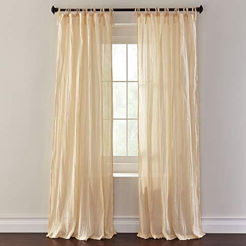 (BrylaneHome Cassie Crinkle Cotton Tie-Top Panel, Set of)