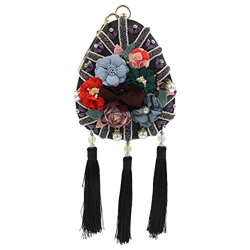Bordado de flores de la muchacha Flada gotas moldeadas forma de la noche bolso de fiesta borla bolso bolsa de embrague verde Black