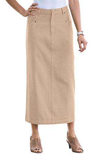 Jessica London Women's Plus Size Classic Cotton Denim Long Skirt New (Denim Twill Skirt)