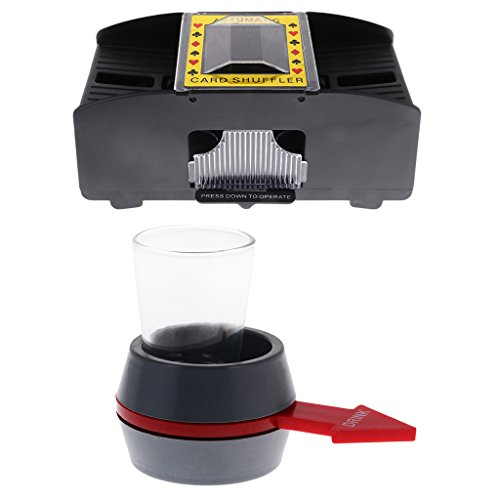 MagiDeal Advanced Poker Card Shuffler Casino Fun Game Playing Shuffling Machine 1-2 Decks and Spin The Shot Drinking Game Roulette Glass Spinning Game by MagiDeal