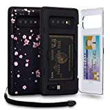 TORU CX PRO Galaxy S10 Plus Wallet Case Pattern Floral with Hidden Credit Card Holder ID Slot Hard Cover, Strap, Mirror & USB Adapter for Samsung Galaxy S10 Plus (2019) - Sakura Flowers