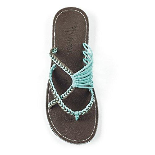 Plaka Flip Flops Slide Sandals For Women Turquoise Gray 5 Oceanside