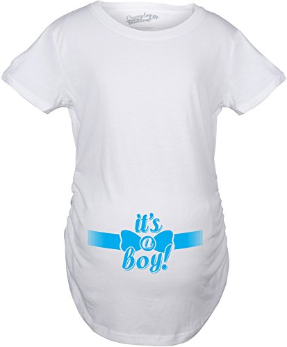 Crazy Dog TShirts - Maternity It's a Boy Blue Bow Tshirt Baby Announcement Pregnancy Tee - Camiseta De Maternidad
