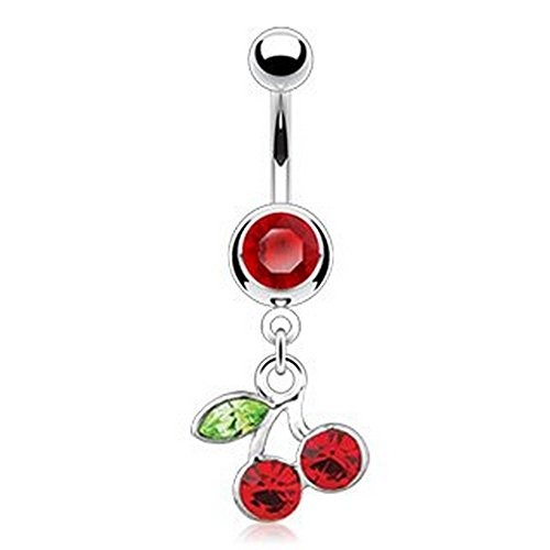 Red Gem w/ Red Cherry Dangle Belly Button RIng