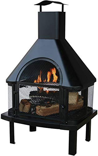 - Black Outdoor Fireplace Fire Pit Wood Burning Heater Mounted On Heavy Gauge Steel Legs for Stability Safe Warm Environment Perfect for Backyard Parties Family Friends Gatherings and Camp-Outs