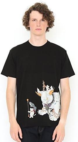 コラボレーション Tシャツ 鬼子母猫百号 (石黒亜矢子) (ブラック) メンズ レディース (g100) (g107)