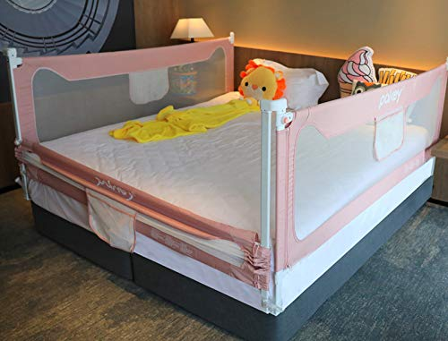 Goldenvalueable 72'' Vertical Collapsible Bed Rail Guard for Baby Toddlers and Kids (Pink) (One Side)