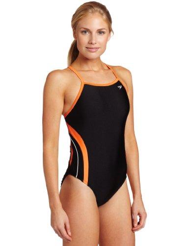 Speedo Women's Rapid Splice Xtra Life Lycra Energy Back Performance Swimsuit, Black/Orange, 36