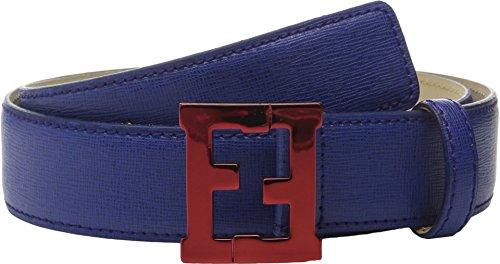 [Fendi Kids Boy's Leather Belt w/ Metallic Logo Buckle (Toddler/Little Kids/Big Kids) Dark Blue Belt 6 Years] (Fendi Logo Buckle Belt)