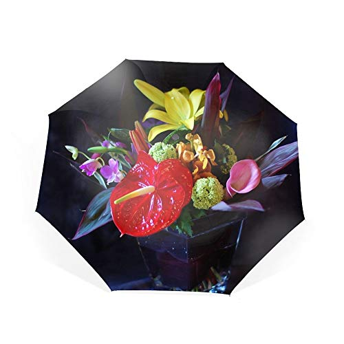 Automatic Compact Travel Umbrella with Reverse and Safe Lock Design, Teflon Auto Open Close Folding Strong Windproof Anthurium Calla Lily Flowers Bouquets Vase Umbrella
