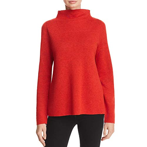 (Eileen Fisher Womens Tencel Blend Funnel Neck Pullover Sweater Red L)