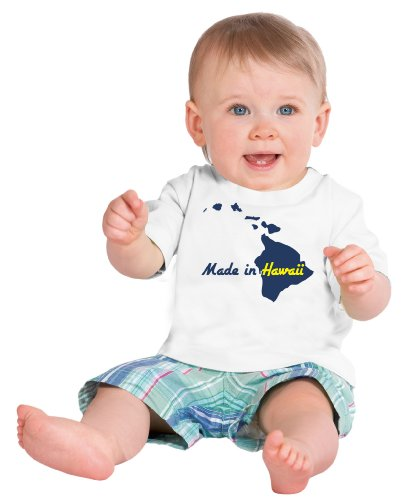 MADE IN HAWAII Short Sleeve Baby T-shirt / Cute, Funny Infant Newborn HI Humor