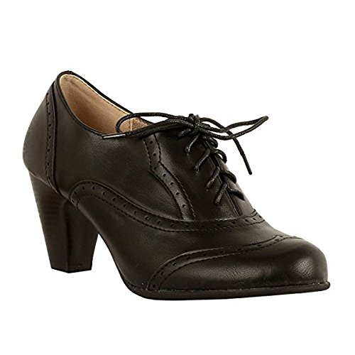 Up Lace Shoes Pump Oxford (Women's Oxford Shoes Classic Fashion Chunky Heel Bootie Mid-Heel Lace up Ankle Boots Mary Jane Pumps Black 8)
