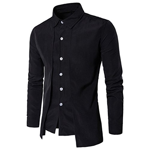 Hot ! Yang-Yi Luxury Men Casual Shirt Long Sleeve Formal Business Slim Shirt T Shirt Top (Black, - Cheap Hipster