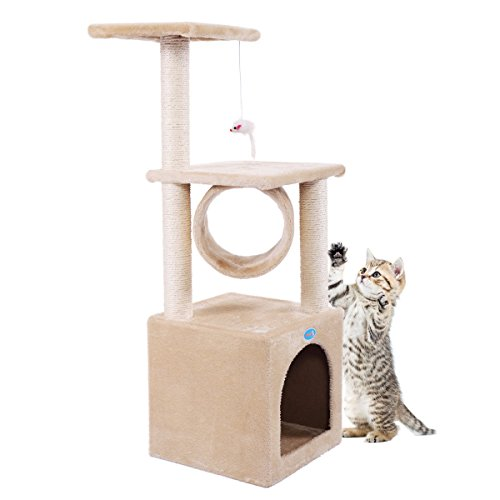 JAXPETY 36'' CAT TREE Bed Sisal Scratching Post Furniture Playhouse Pet Bed Kitten Cat Tower Condo Stairs for Kittens Post Pole Beige with Paw