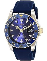 Men's Agent Stainless Steel Quartz Rubber Strap, Blue, 20 Casual Watch (Model: SP0124)