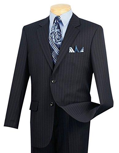 VINCI Men's Pinstriped 2 Button Classic-Fit Suit Navy Blue | Size: 46 Regular / 40 ()