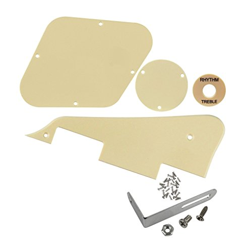 FLEOR 1Ply Cream Guitar Pickguard Scratch Plate Back Plate Guitar Screws Set & Toggle Switch Plate(Cream) & Silver Bracket Fit Gibson Les Paul Pickguard Replacement