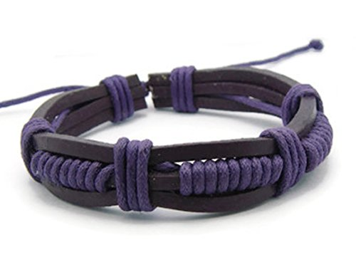 APECTO Jewelry Trendy Leather Rope Friendship Wristband Cuff Adjustable Bracelet Handmade, PURPLE (SB32)