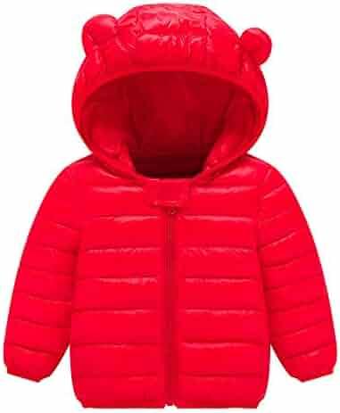 f96ba018b WARMSHOP Kids Baby Boys Girls Down Coat,Long Sleeve Solid Lightweight  Cartoon Ear Zipper Hooded