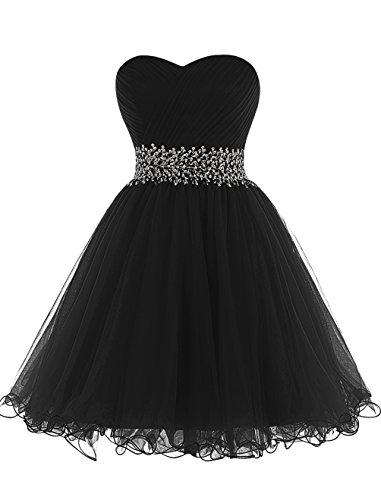 Mini Dresstells D'honneur Noir Cocktail De Cœur Emperlée Demoiselle court Robe En Bustier frxFdr