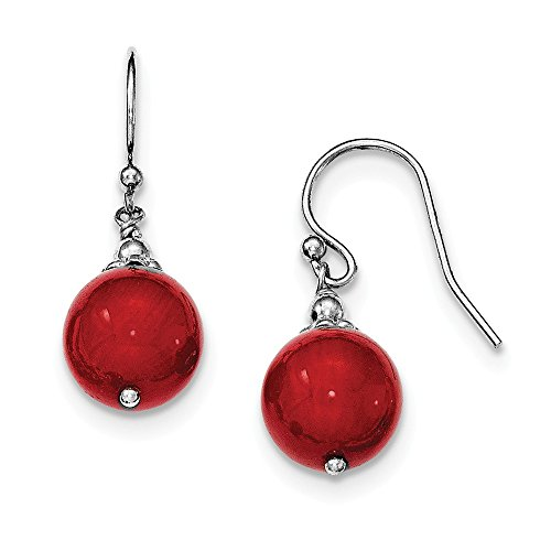 Sterling Silver and Dyed Red Simulated Coral Bead Dangle Shepherd Hook Earrings