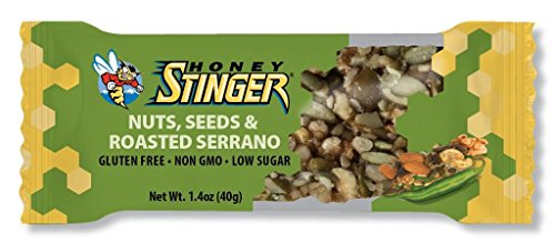 Honey Stinger Snack Bar, Nuts, Seeds and Roasted Serrano, 1.4 Ounce (Pack of 15)