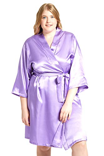 (Jovannie Women's Satin 3/4 Sleeve Plus Size Kimono Robe with Matching Sash Regular/Long Length (Lavender, 4X Plus))