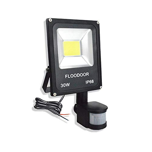 FLOODOOR 30W LED Motion Sensor Light Outdoor Safety Waterproof 12-24V AC/DC IP66 Super Bright Floodlight, 6000K, Daylight White, 150W Bulb Equivalent, 2700LM, PIR Intelligent Sensor Light (No Plug)