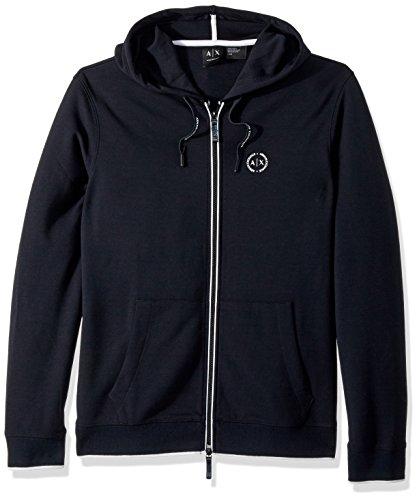 A|X Armani Exchange Men's Basic Zip up Hoodie With Chest Logo, Navy, - Sweater Exchange Men Armani