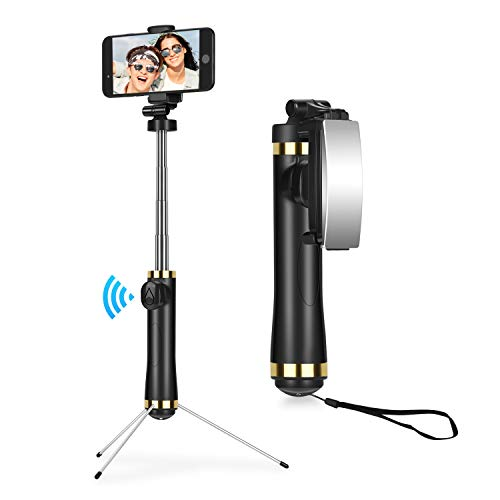 Selfie Stick Tripod Bluetooth, Sefitopher Pose Mirror Portable Monopod with Remote Shutter 360° Rotatable Holder for iPhone X/8/8 plus/7/6S/6/XS max, Galaxy Note S6/7/8/9 Plus, Android Phone, Camera
