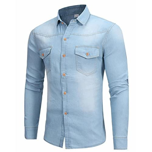 Nice CIC Collection Men's Long Sleeve Button Down Denim Shirt for cheap
