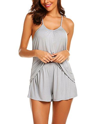 Avidlove Womens Cami Top and Shorts Pajama Set Sleeveless Sleepwear Pjs Sets(Light Gray,XL)