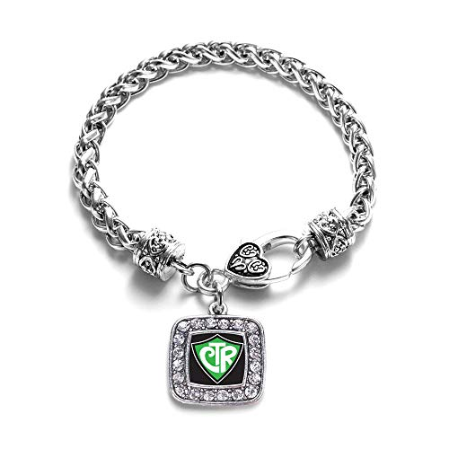 Inspired Silver - CTR Braided Bracelet for Women - Silver Square Charm Bracelet with Cubic Zirconia Jewelry