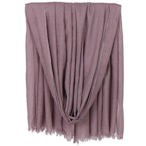 LMVERNA Women Solid Color Scarfs Large Long Lightweight Fringed Headscarf Linen Sheer Shawl Wrap(Skin purple)
