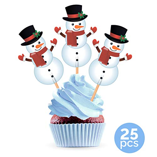 Snowman Cupcake Toppers Cake Picks - Christmas Party Decorations Supplies Winter Holiday - 25 PCS
