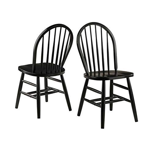 Black Wood Dining Room Chairs - Winsome Wood 29836 Windsor 2-PC Set RTA Black Chair, Black, Black