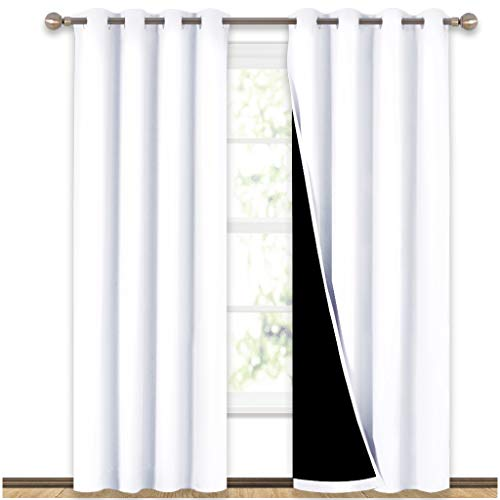 "100% Blackout Window Curtain Panels, Heat and Full Light Blocking Drapes with Black Liner for Nursery, 84 Inches Drop Thermal Insulated Draperies (White, 2 Pieces, 52"" Wide Each Panel)"