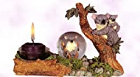 "Candle Holder Centerpiece Koala with Baby Bear Tea Light Votive Candle Holder with Mini Snow Globe. Resin. 4 1/2"" High."